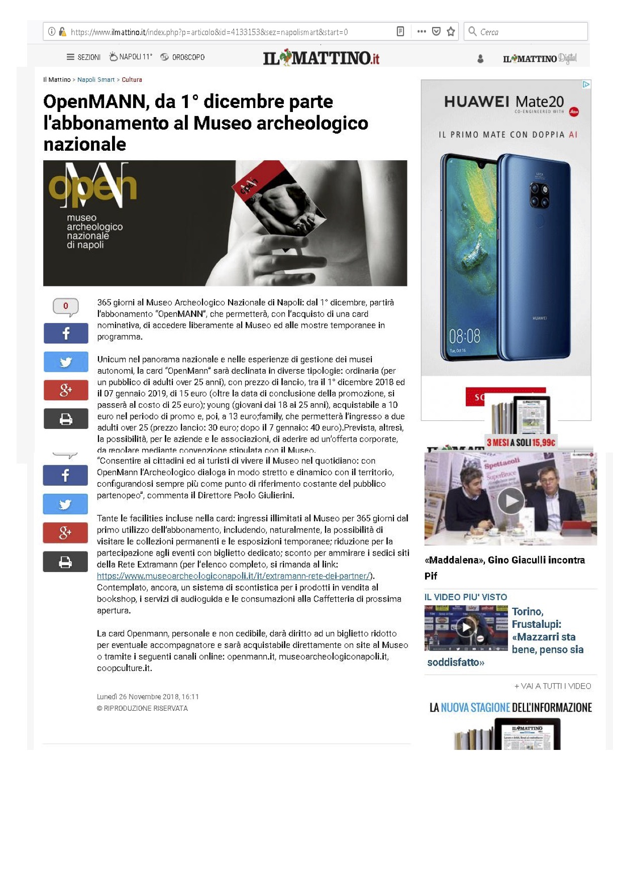 il Mattino 26 nov 2018 OpenMANN